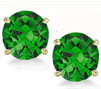14K GOLD EMERALD  2.86 CARAT ROUND SHAPE STUD PUSH BACK EARRINGS 6mm 80% SALE!