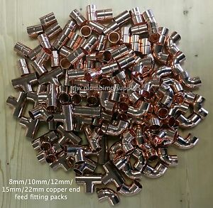 8mm/10mm/12mm/15mm/22mm copper end feed mixed fitting packs wras approved,new