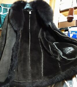 Women's Fur Brown Soft Fur Coat With Suede Leather On Outside