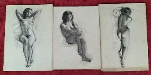 NUDE OF A WOMAN. COLLECTION OF 3 GRAPHITE DRAWINGS. IGNACIO GIL SALA. XXTH CENT.