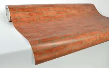 "Block brick wall effect vinyl laminated 5ft x 42"" wallpaper roll sticker orange"