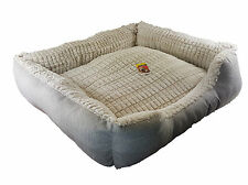 Deluxe Soft Pet Bed Dog Cat Warm Basket Cushion Fleece Lining Washable Small