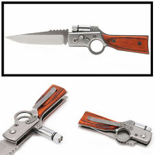 Tactical Folding Blade Knife Survival Hunting Camping Pocket Knife With LED