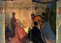 Triptychon Heilige Nacht XL Kunsdruck 1912 von Herbert Arnold Berlin Weihnachten