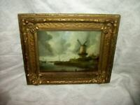 1890s WINDMILL PRINT SQUARE CONVEX GLASS JACOB RUISDAEL ORNATE GESSO ANTIQUE