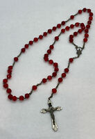 """Vintage Red Glass Crystal Catholic Rosary 18"""" Long OA Beads / ITALY"""