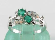 CLASSIC 9K 9CT WHITE GOLD EMERALD & OPAL ART DECO INS CROSS OVER RING FREE SIZE