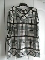 New Dana Buchman XL Blouse Tunic Shirt Black White Excellent Condition
