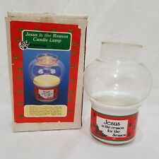 "Jesus Is the Reason Candle Lamp Holder 4"" Christmas Holiday 1988 House of Lloyd"