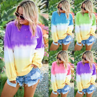 Women Casual Gradient Tie Dye Long Sleeve Tops Pullover Loose Sweatshirt T-Shirt