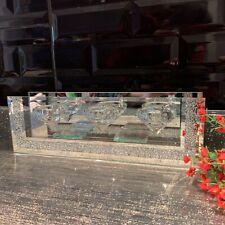 silver jewel diamante mirror glass 3 tea light candle holder wedding table decor