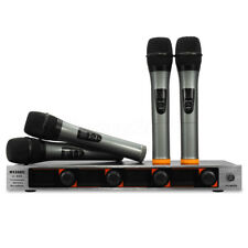 Professional UHF 4 Channel 4 Handheld Wireless LCD Microphone Mic Speaker