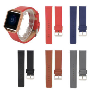 Genuine Leather Watch Band Strap Bracelet Steel Frame For Fitbit Blaze Wristband