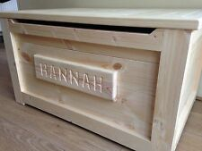 LARGE WOODEN TOY BOX HandMade PERSONALISED  Pine  Blanket Ottoman SAFETY HINGE