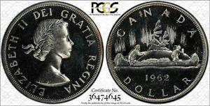 1962 CANADA SILVER DOLLAR PCGS PL65 BLAST WHITE BEAUTIFUL GEM UNC BU
