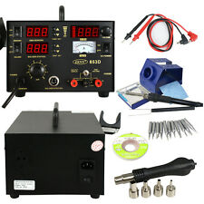 3in1 Soldering Station Hot Air Rework Stantion DC Power Supply 853D W/ 4 Nozzles