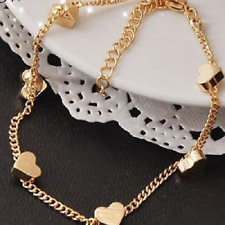 Bracelet 9ct Gold GF Hearts Chain Bangle Mother Gift Christmas Summer Lobster