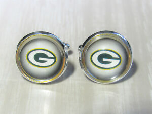 Green Bay Packers Cufflinks made from Football Cards, Gift for Men Dad Husband