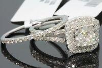 10K WHITE GOLD 1.42 CARAT WOMENS REAL DIAMOND ENGAGEMENT RING WEDDING BAND SET