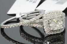 10K WHITE GOLD 1.49 CARAT WOMENS REAL DIAMOND ENGAGEMENT RING WEDDING BAND SET