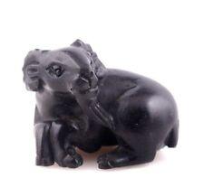 Ebony Ironwood Hand Carved Netsuke Sculpture Miniature Antelope Goat #01071601