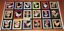 COLORFUL CHICKEN CHIQUE PORTRAIT Squares on BLACK 100% Cotton Fabric Panel