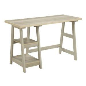 Convenience Concepts Designs2Go Trestle Desk, Weathered White - 090107WW