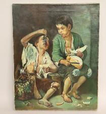 Melonenesser Ölgemälde nach Murillo signiert Theo Wilhelm verso dat.1974(BK5693)