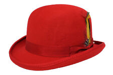 87f3998e97b1 100% Wool Bowler Hat High Quality with Removable Feather Satin Lined