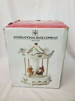 Vintage Santa And Sleigh Musical Carousel, International Silver Company in box