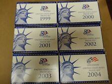 U S Mint Proof Sets 1999, 2000,2001,2002,2003,2004 w/COA (lot)