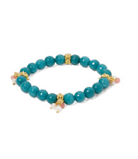 TURQUOISE AGATE PEARL CHARM BRACELET MICRO GOLD STONE JEWELRY WOMEN HAND MADE