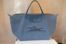 Rare Longchamp  Modele Depose Woven Textile Tote Bag with Leather Trim Blue