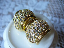 Vintage SignedSwarovski Clip-On Earrings - Pave Crystals, Beautiful Earrings!