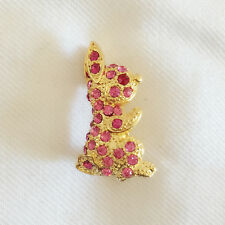 Crystals Brooch Pin Pet Gift Br1262A New Pink Gold Plated Bunny Sitting Rabbit