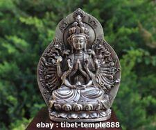 15 CM Tibet silver 1000 Arms Guanyin Kwan-yin Bodhisattva Buddha Statue