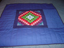 "AMISH LANCASTER, PA. SUNSHINE & SHADOW NAVY WALLHANGING QUILT 41""- 41"""