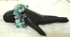 Handcrafted Bracelet One of a Kind Turquoise Crystals Hand Braided Elastic Cord
