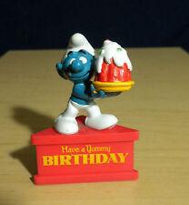 Smurf A Gram Yummy Happy Birthday Cake Figure Vintage Smurfs Stand PVC Figurine