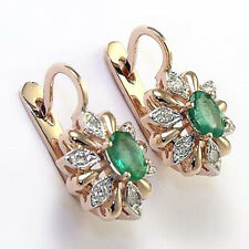 14k Rose and White Gold Diamond Emerald Russian Style Earrings #E1183