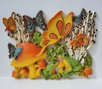 Vintage 70s MCM Homco Mushroom Butterfly Frog Wall Hanging Decor Plaque USA