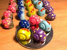 """5 Hand-Painted Hermit Crab Turbo Shells .75 - 1"""" Opening - Free Ship!"""