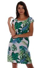 Leinen Kleid Strandkleid Kurzarm Hot Summer Days Exotic Leaves Print Gr. 36 - 44