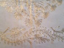 "Gold tambour lace on cream beige silky organza tablecloth 36"" x 37"" + 6 napkins"