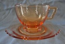VINTAGE FOSTORIA GLASS AMBER MAYFAIR PATTERN CUP AND SAUCER