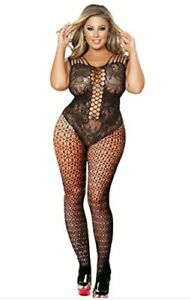 PLUS SIZE Fishnet BODYSTOCKING Pantyhose #115 HOT PINK Catsuit BigTall LINGERIE