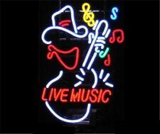 "New Live Music Guitar Beer Logo Neon Light Sign 17""x14"""
