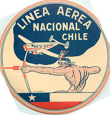 Linea Aerea Nacional ~CHILE~ Scarce/Historic INDIAN Airline Luggage Label, 1950