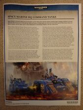Space Marine Warhammer World Exclusive HQ Command Tanks RULES - 40K