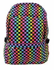 CHECK RUCKSACK Backpack Checker Emo Goth School College Gym Festival Work Bag